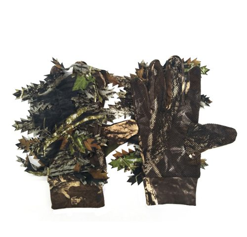 camouflage leaf pattern hunting gloves